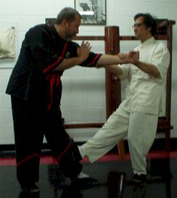 Photo: Grandmaster Leung Ting applies a Wing Tsun (WT, wing chun, ving tsun) technique to Sifu Mike Adams