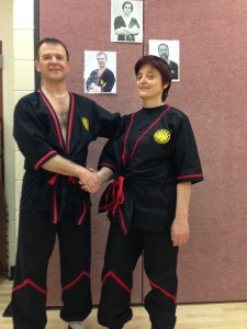 Photo: Sifu Guerman Atanassov congratulates Sije Victoria Kofman on her promotion to Primary Level Technician in Wing Tsun Kung Fu